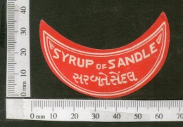 India Vintage Trade Label Sandle Syrup Health Drink # LBL118 - Etiquettes