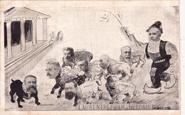 CPA Surréalisme JAURES LOUBET COMBES Caricature Satirique Hommes Politiques Bouledogue Français - Satiriques