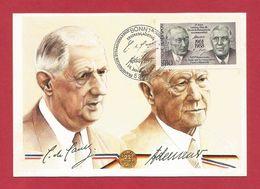 BRD 1988  Mi.Nr. 1351 , EUROPA CEPT Sympathie Mitläufer - Charles De Gaulle + Konrad Adenauer  - Maximum Karte - Europa-CEPT