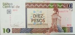 RL) 2012 CUBA, BANKNOTES, TEN PESOS, MONUMENT TO MAXIMO GOMEZ, STATUE, HORSE, BROWN AND GREEN, X - Cuba