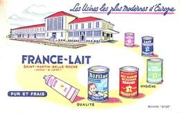 Buvard  Alimentaire  Usines  FRANCE - LAIT  à  SAINT -  MARTIN  BELLE - ROCHE  ( 71 ) - Blotters