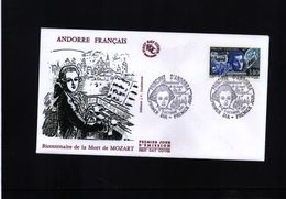 Andorra (French) 1991 Wolfgang Amadeus Mozart FDC - Musique