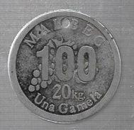 UNA GAMELA 20 KILOGRAMOS DE MALBEC LAVAQUE AÑO 1889 WINE VINO VINHO RECOLECCION DE UVAS FICHA DE ESTANCIA ARGENTINA ARGE - Jetons & Médailles