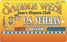 Saddle West Casino - Pahrump, NV - Veterans Special Issue Slot Club - Casino Cards