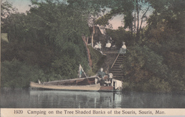 Old Postcard Written In 1912 - Souris Manitoba Man. Canada - Camping On TheTree Shaded Banks - Animated - 2 Scans - Other