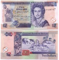 Belize - 2 Dollars 2007 AUNC W/holes Lemberg-Zp - Belize