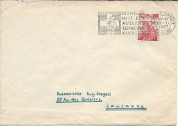 Timbre Paysage Lugano, Timbre-poste Automate Découpure à Cheval BIENNE 1947, Lettre Pour Lausanne, - Lettres & Documents