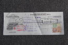 Lettre De Change - LONS LE SAUNIER, Fromageries BEL, Fromage De Gruyère En Gros. - Bills Of Exchange