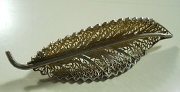 Silver Brooch * Leaf - Broches