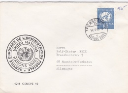 United Nations Geneve Cover W/Swiss UN Stamp Posted1966 (G91-16) - Geneva - United Nations Office
