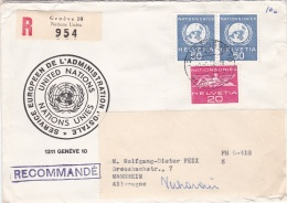 United Nations Geneve Registered Cover W/Swiss UN Stamp Posted1966 (G91-16) - Geneva - United Nations Office