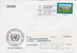 United Nations Geneve Cover UNICEF XXVe Anniversaire 1971 (G91-16) - Geneva - United Nations Office