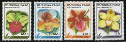 1996 Burkina Faso Orchids Flowers  Complete Set Of 4 MNH - Burkina Faso (1984-...)