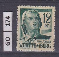 GERMANIA    WURTTEMBERG FRANCESE1947Motivi Diversi, 12 F, Nuovo - Zone Française