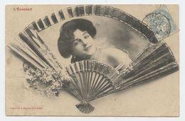 Eventail, Femme éventail, ,Bergeret,Castillonnès - Humor