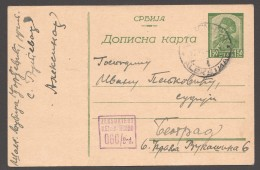 1944 SERBIEN  Zensurkart  MiNr P5  N. Aleksina V. Beograd - Besetzungen 1938-45