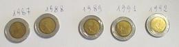 Italia 5 Monete 500 Lire Bimetallica Lotto 2 1987 1988 1989 1991 1992 - 1946-… : Repubblica