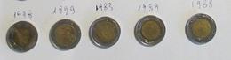 Italia 5 Monete 500 Lire Bimetallica Lotto 4 1998 1999 1983 1989 1988 - 1946-… : Repubblica
