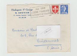 """LSC 1958 - Entête Horlogerie St Georges - ALGER -  Flamme """"Mai 1958 Algérie Française Fraternité Retrouvée"""" - Algeria (1924-1962)"""