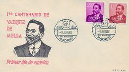 1961 , SOBRE DE PRIMER DIA , ED. 1351 / 1352 , VÁZQUEZ DE MELLA - FDC