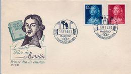 1961 , SOBRE DE PRIMER DIA , ED. 1328 / 1329 , LEANDRO FERNÁNDEZ DE MORATÍN - FDC