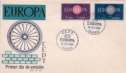 1960 , SOBRE DE PRIMER DIA , ED. 1294 / 1295 , TEMA EUROPA - FDC