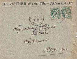 VAUCLUSE - CAVAILLON - MINOTERIES GAUTIER ET FILS - ENVELOPPE AVEC CORRESPONDANCE DU 3-8-1907 - TYPE BLANC. - Petits Métiers