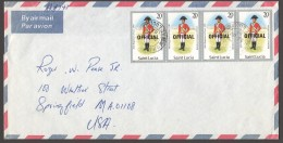 1987  Official Letter To USA  Uniforms 20cent X4 - St.Lucia (1979-...)