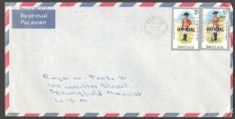1987  Official Letter To USA  Uniforms 20 Cent, 65 Cent - St.Lucia (1979-...)