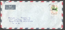 1990  Official Letter To USA   Endangered Trees 95 Cent - St.Lucia (1979-...)