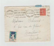 LAC 1929 - Cachet CHERBOURG (Manche)+ Flamme Double + Vignette  - Au Dos Cachet HONFLEUR (Calvados) - Marcophilie (Lettres)