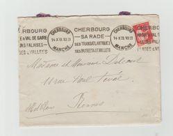 LAC 1933 - Cachet CHERBOURG (Manche)+ Flamme Double Devant Et Différente Et Double Derrière - Marcophilie (Lettres)