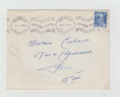 """LAC 1954 - Cachet DEAUVILLE (Calvados)  Et Flamme Ondulée  """"Deauville Grande Plage Mondiale"""" - Marcophilie (Lettres)"""