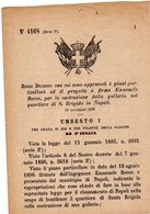 1886 DECRETO CON CUI SONO APPROVATI I PIANI ED IL PROGETTO PER LA COSTRUZIONE DELLA GALLERIA UMBERTO A NAPOLI - Decreti & Leggi