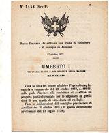 1879 DECRETO CHE ISTITUISCE UNA SCUOLA DI VITICULTURA E DI ENOLOGIA IN AVELLINO - Decreti & Leggi