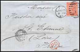 35595 Marque D'entrée Grande Bretagne Great Britain N°32 Victoria 4p Red Cover London St Etienne France 1867 Cachet 4 - Entry Postmarks