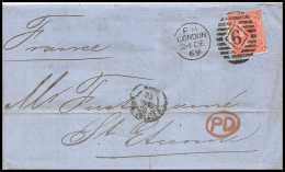 35602 Marque D'entrée Grande Bretagne Great Britain N°32 Victoria 4p Red Cover London St Etienne France 1869 Cachet 6 - Entry Postmarks