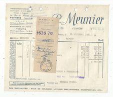 Facture D'avoir , 1951 , R.MEUNIER ,POITIERS ,Vienne , Succursale TOURS - 1950 - ...