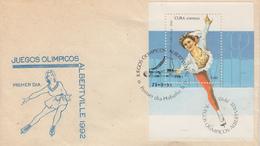 Enveloppe  FDC  1er  Jour    CUBA   Bloc  Feuillet   Jeux   Olympiques   D' ALBERTVILLE    1992 - Winter 1992: Albertville