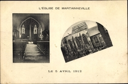 Cp Martainneville Somme, L'Eglise, Le 5 Avril 1912, Blick Auf Die Zerstörte Kirche, Innenansicht - France