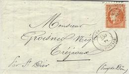 1871- Lettre De BILLOM ( Puy De Dôme ) Cad T17 Pour  Trézioux Affr. N°48 ( 4 Marges ) Oblit. G C 479 - 1849-1876: Période Classique