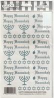 Feuille Complète De Transfers METALLIC  HAPPY HANNUKAH Symboles Juif    Edit DATE ?:   ( TTB état SOUS PLASTIQUE 30 GR ) - Saisons & Fêtes