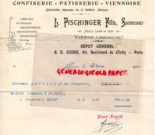 AUTRICHE- VIENNE- RARE LETTRE L. PISCHINGER FILS-CONFISERIE-PATISSERIE VIENNOISE-75- PARIS- B.A. GODEK-60 BD CLICHY-1913 - Austria