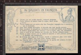 393P/38 CPA CARTOLINA POSTALE 1915/18 CON DECALOGO AI SOLDATI IN TRINCEA 142° REGGIMENTO FANTERIA CARTONCINO CARMINIO - Régiments