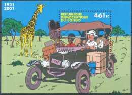 D- [12957] **/Mnh-Congo, BL205, TINTIN Au Congo, Voiture, Animaux - Stripsverhalen