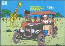 D- [12959] **/Mnh-BL205, ND/Imperf, TINTIN Au Congo, Voiture, Animaux - République Démocratique Du Congo (1997 -...)