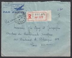 """N° 163 X 3 + PA N° 12 X 3 Sur LR Oblit. CAD """" Dalat 19/04 49 Plateau Indochinois """" Pour Paris ( Affranchissement Verso ) - Indochine (1889-1945)"""