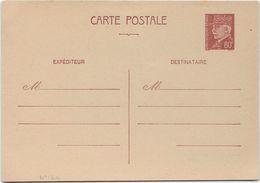 France Entiers Postaux -Type Pétain 80 C Brun - Carte Postale - Cartes Postales Types Et TSC (avant 1995)