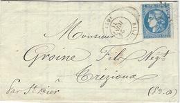 1871- Lettre De BILLOM ( Puy De Dôme  ) Cad T17 Affr. N°46 Report II - Marcophilie (Lettres)