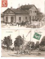 LOT 2 CPA - La Garenne - Gare & Place De La Colonne 1909 - La Garenne Colombes
